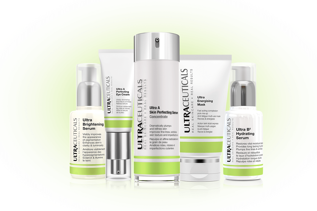 Sue Ann's skin regime included the following from left to right: Ultra Brightening Serum, Ultra A Perfecting Eye Cream, Ultra A Skin Perfecting Serum, Ultra Energising Mask, Ultra B2 Hydrating Serum
